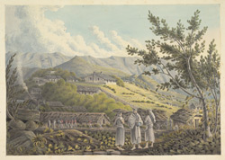 Hill village with workers in the fields and a group of Bengal sepoys in the middle distance